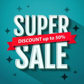Super Sale banner design template. Super Sale inscription. Vector illustration