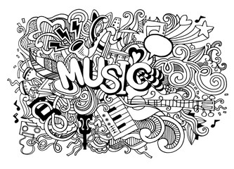 Music Background ,Collage with musical instruments.Hand drawing