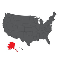 Alaska red map on gray USA map vector