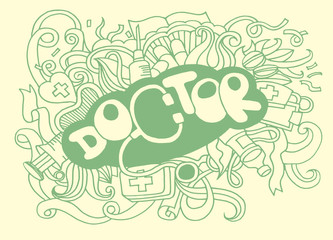 Health care and medicine doodle background
