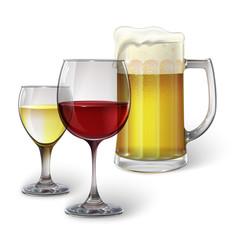 Cocktail glass, wine glass, mug with beer