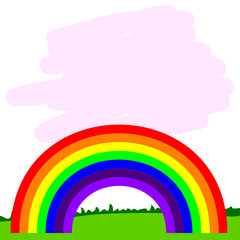 rainbow line illustration in nature