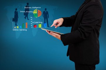 Wall Mural - Businessman holding a tablet with business concept and technolog