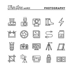 Photography, equipment, post-production, printing and more, thin line icons set