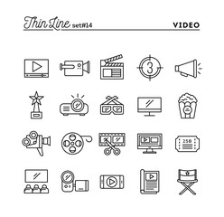 Film, video, shooting, editing and more, thin line icons set