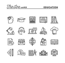 Education, online books, distance learning, webinar and more, thin line icons set