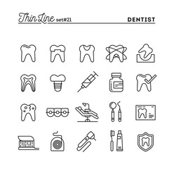 Dentist, dental care, healthy teeth, protection and more, thin line icons set