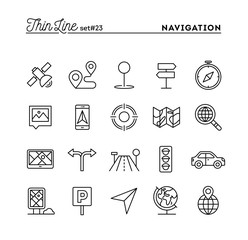 Navigation, direction, maps, traffic and more, thin line icons set