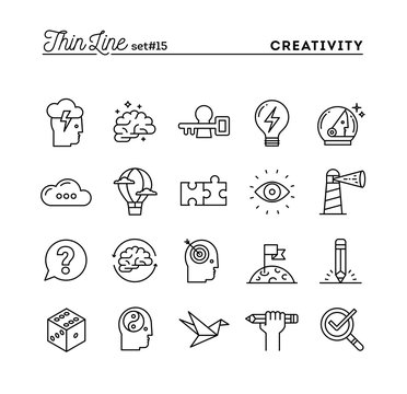 Creativity, imagination, problem solving, mind power and more, thin line icons set