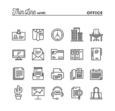 Office things, thin line icons set
