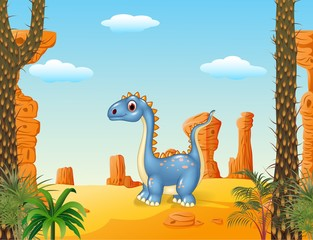 Cartoon cute dinosaur with prehistoric background