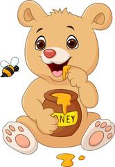 Keuken foto achterwand Beren Cartoon funny baby bear holding honey pot isolated on white background