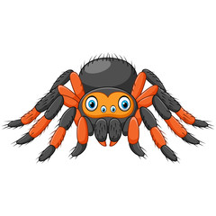Cartoon spider tarantula with red knees. Danger animal