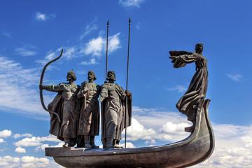 Poster Kiev Founders Monument Dniper River Kiev Symbol Kiev Ukraine
