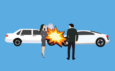 car crash accident collision man woman standing