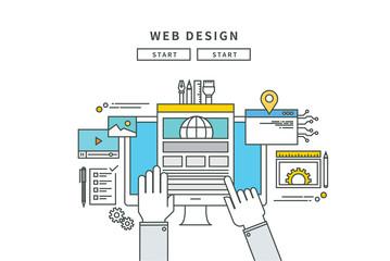 simple line flat design of web design, modern vector illustration