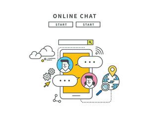 simple line flat design of online chat, modern vector illustration