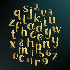 Handwritten gold alphabet. Hand drawn sketch vector lowercase letters and digits, lettering font paint golden brush, ABC