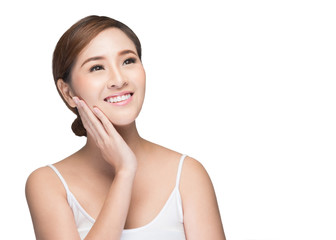 beautiful young woman with healthy face isolated on white with clipping path.