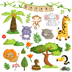 Safari Animal Vector Set