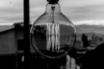 Black and white filament light bulb