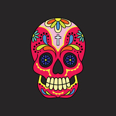 A calavera or sugar skull on a black backdrop.