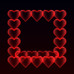 Frame from balloons hearts with glitter on a dark background