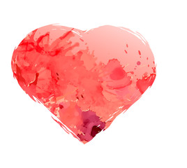 Watercolor heart isolated on white background, vector elements