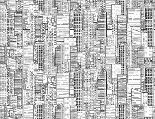 Seamless black and white texture with contours of  skyscrapers