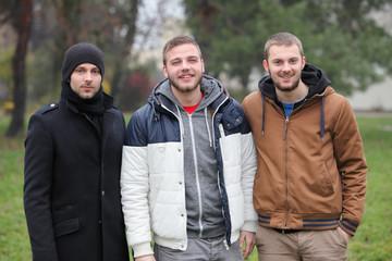 Three friend in park - men
