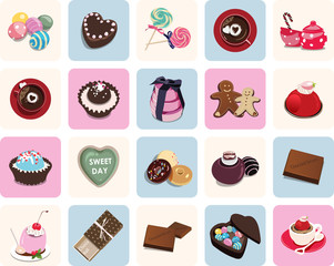 Icons for Valentine's day in colors