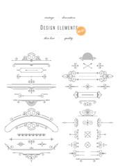 Big vintage set - design elements, thin line ( variable line width )