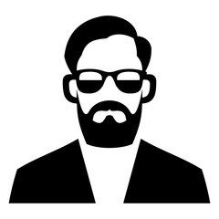 Hipster Fashion Man Hair, Glasses and Beards. Vector