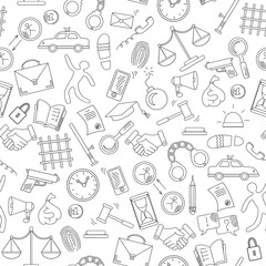 Seamless pattern with hand drawn icons on the theme of law and crimes, black contour on white background