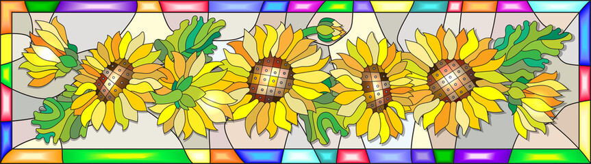 Colorful illustration in stained glass style with flowers, leaves and buds of the sunflower