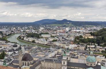 Aerial view over Salzburg city center, Austria