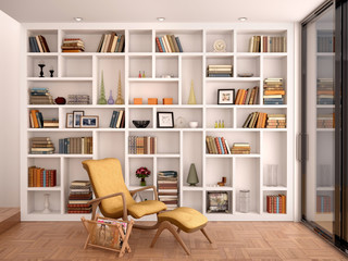 3d illustration of white shelves for decoration and a library in