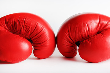 Fototapeta A pair of red boxing gloves. Sports concept. obraz