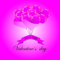 Flying beautiful purple balloon hearts, greeting card
