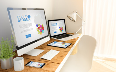 cloud storage in laptop, computer, tablet and smart phone