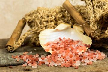 himalayan bath salts and scrub sponge