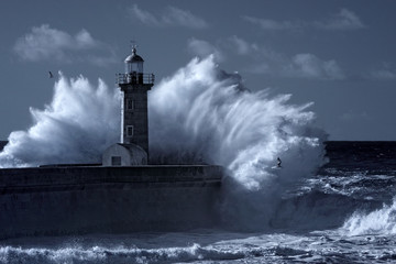 Fotobehang Bestsellers Infrared stormy lighthouse