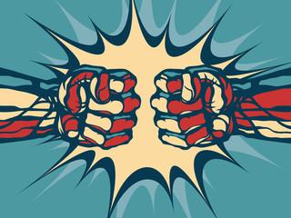 Fist fight - comic style illustration.