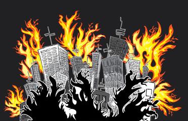 cartoon city catching fire