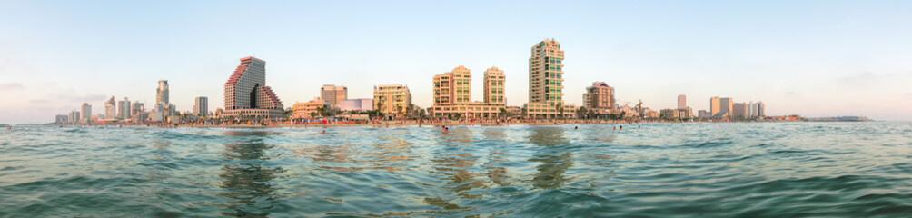 Tel Aviv city panoramic view from Mediterranean Sea.