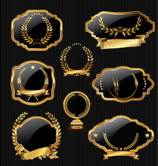 Retro golden badges colllection