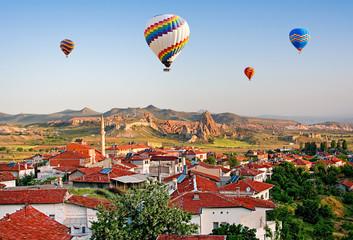 The great tourist attraction of Cappadocia - balloon flight. Turkey