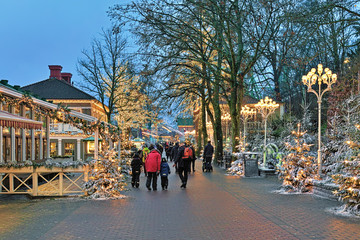 Liseberg amusement park with Christmas decoration in Gothenburg, Sweden