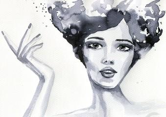 Obraz portret akwarelowy kobiety - fototapety do salonu