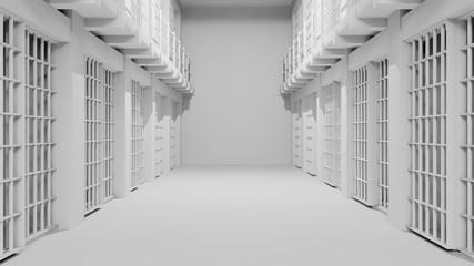 Rows of prison cells, prison interior.